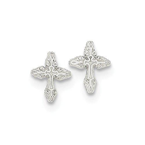 Pendientes de plata de ley 925 con diseño de cruz religiosa de satén pulido para niños o niñas