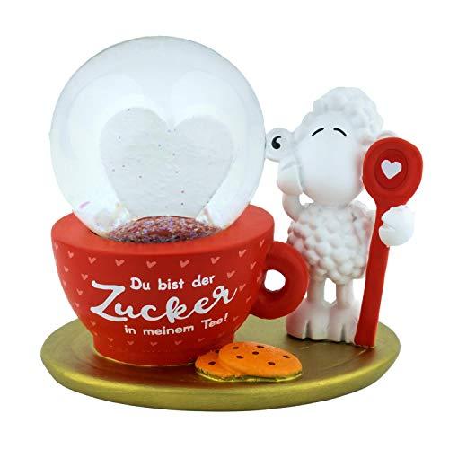 Die Geschenkewelt 46189 Traumkugel Du bist der Zucker in meinem Tee, 7,2 cm Schneekugel, Mehrfarbig, Höhe
