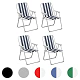 Harbour Housewares Folding Portable Beach/Camping Deck Chair - Blue Stripe - Pack of
