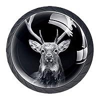 引き出しハンドルプル 引き出し装飾キャビネットノブドレッサー引き出しハンドル4個,暗い背景の鹿