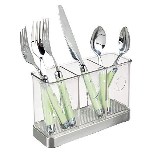 mDesign Besteckkorb für Messer, Gabeln, Löffel – Besteckhalter zur Aufbewahrung für Kochlöffel, Pfannenwender, Teigschaber etc. – gebürsteter Edelstahl/transparent