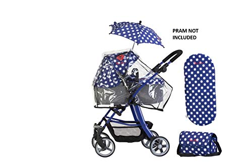 Accessoirepakket voor Silver Cross-poppenwagen - stof Limited Edition Blue Polka Dot