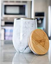 12oz Tumbler - Marble Spill Proof On the Go - Premium Stainless Steal and a Sand Cloud Bamboo Top