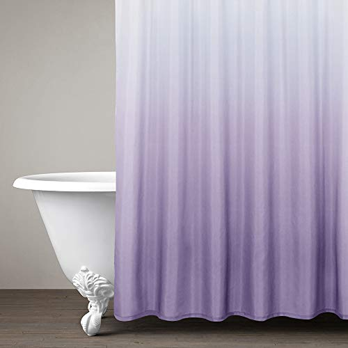 Ombre Shower Curtain Lilac for Bathroom Waterproof Gradual Color Design Fabric Shower Curtain Hooks Included 72 inch Long One Panel