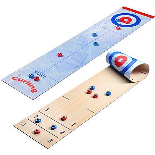 Tabletop-Spiele für Familien, 2-in-1-Tisch-Shuffleboard-Pucks und Curling-Spiele für Kinder und Erwachsene Familienspiel-Brettspiel, kompaktes Curling-Brettspiel-Set für Kinder und Erwachsene