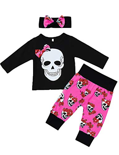Halloween Toddler Baby Girl Clothes 2PCs Outfit Set Skull T-Shirt and Floar Pants Kids Clothes(Red, 18-24 Months)