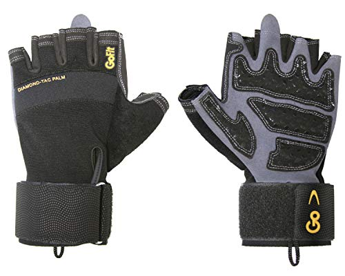 GoFit Diamond-Tac Wrist Wrap Glove - Padded, Flexible, Supportive Fitness Glove and Training CD - X Large