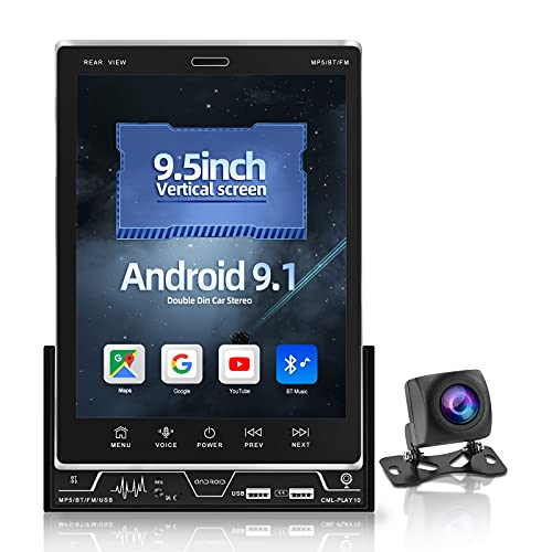 NHOPEEW 9,5 pollici Android doppio Din autoradio verticale touch screen autoradio con Bluetooth e supporto per telecamera di backup GPS/WIFI/USB/FM/AUX/collegamento specchio/controllo del volante/DVR