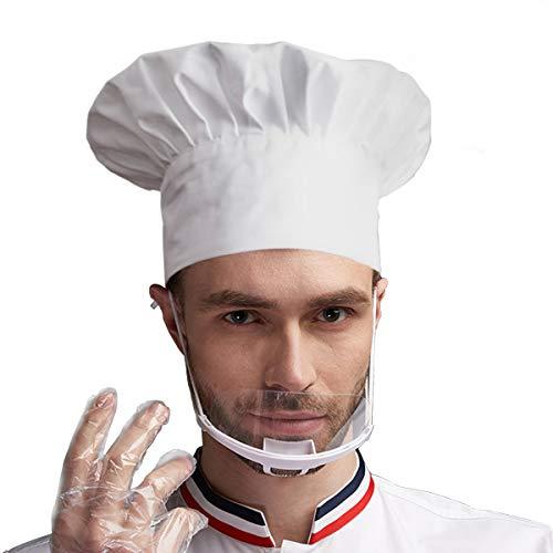 Kochmütze für Erwachsene, verstellbar, elastisch, für Küche und Koch (Weiß)