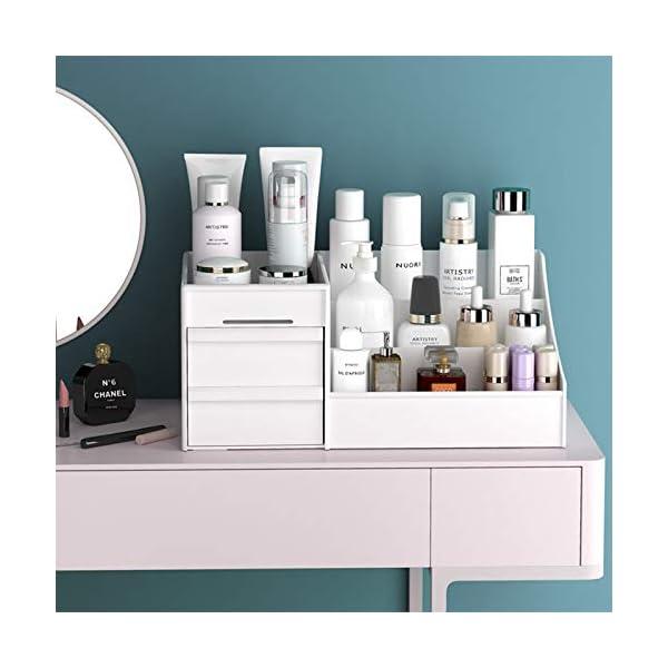 White Large Makeup Capacity Cosmetic Storage Box Skin Care Organizer Jewelry ,Makeup, Brushes, Lipsticks, Nail Polish…