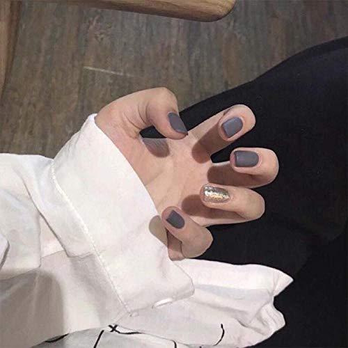 TJJF 24 Pcs Noir Gris Saut Couleur Doré Moyen Carré Faux Nail Art Conseils Glitter Décoration Shimmer Acrylique Ongles Artificiels