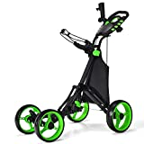 Tangkula Golf Push Pull Cart, Lightweight Folding 4 Wheels Golf Push Cart, Golf Trolley with Waterproof Bag & Foot Brake, Free Cup & Adjustable Umbrella Holder, Height-Adjustable Handle (Green)