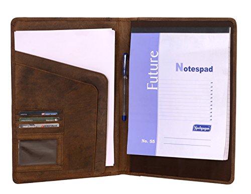 KomalC Genuine Leather Business Portfolio, Personal Organizer, Luxury Leather Padfolio (Saddle Brown)