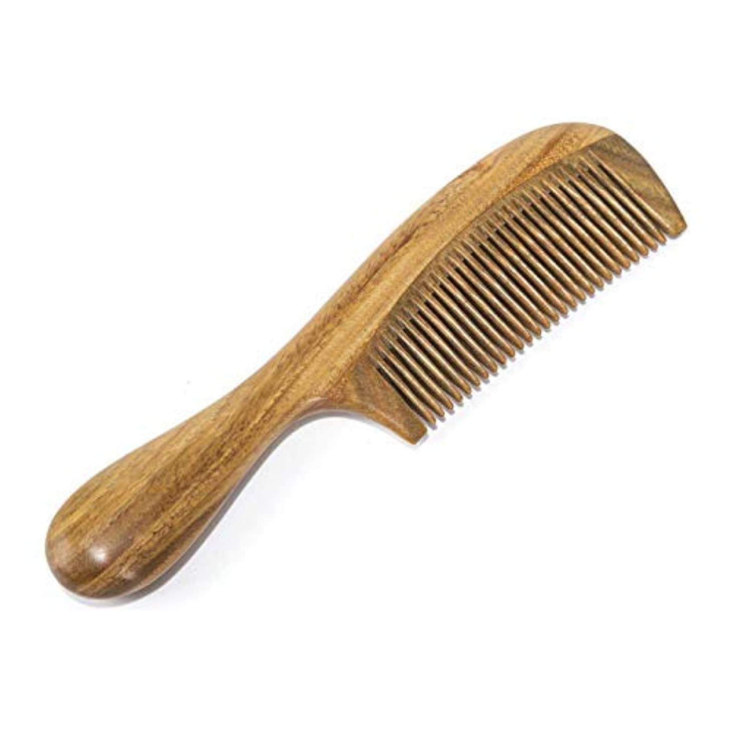 手綱彼らの肖像画BEINY Natural Green Sandalwood Comb - Anti Static Wooden Hair Comb with Thickening Round Handle for Hair Health and Festival Gift [並行輸入品]
