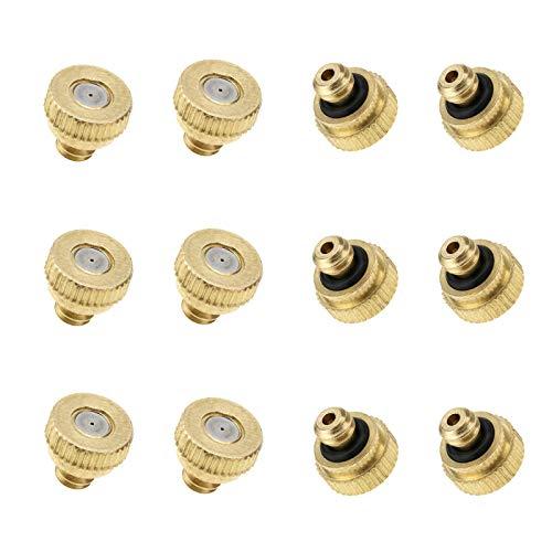 Create Idea - Kit de 12 boquillas de pulverización de latón de 0,3 mm, boquilla de pulverización de baja presión de atomización, cabezal pulverizador, atomizador