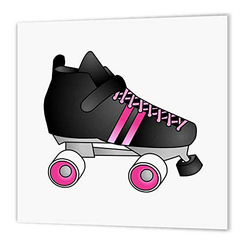 3dRose ht_35463_1 Skating Gifts Black and Pink Roller Skate Iron on Heat Transfer for White Material, 8 by 8-Inch