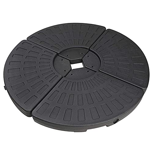 Youyijia 4PCS Heavy Duty Garden Parasol Base Stand Circle Cantilever Sun Umbrella Weight Stand Portable Round Cross Base with Sand or Water Filling 13L