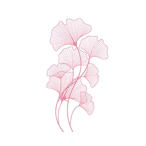 QBZS-YJ New New Chinese Wrought Iron Wall Decoration Wall Decoration Background Wall Porch Creative Wall Hanging Color Ginkgo Leaf Wall Hanging Painting (Color : Pink)