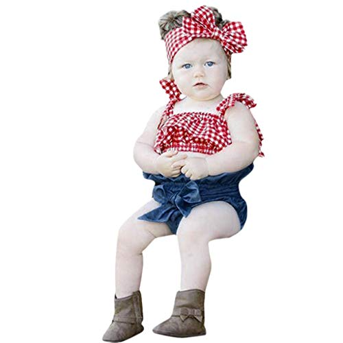 JERFER Infant Baby Girls Sleeveless Plaid Sun-Tops+Denim Shorts+Headbands Outfits Set