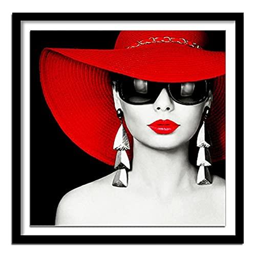 ZXXGA DIY 5D Diamante Pintura Gafas de Sol Mujer Mosaico Mosaico Rhinestone Bordado Punto de Cruz decoración del hogar artesanía Diamante Redondo 50x50cm