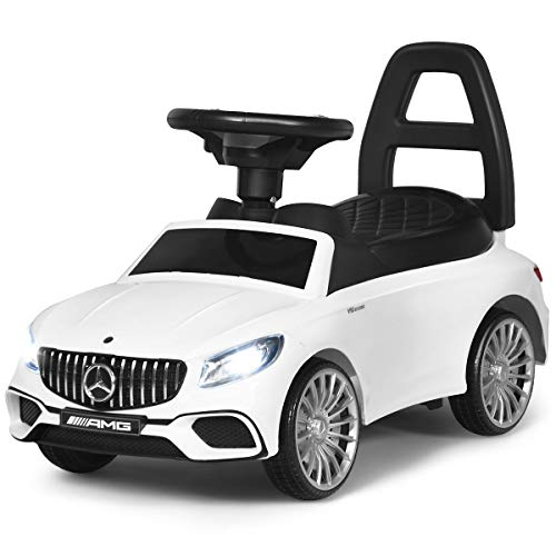 COSTWAY Coche Infantil Vehículo Juguete para Niños con LED,Música y Bocina Coche de Empuje con Compartimento para Niños de 18-36 Meses (Blanco)
