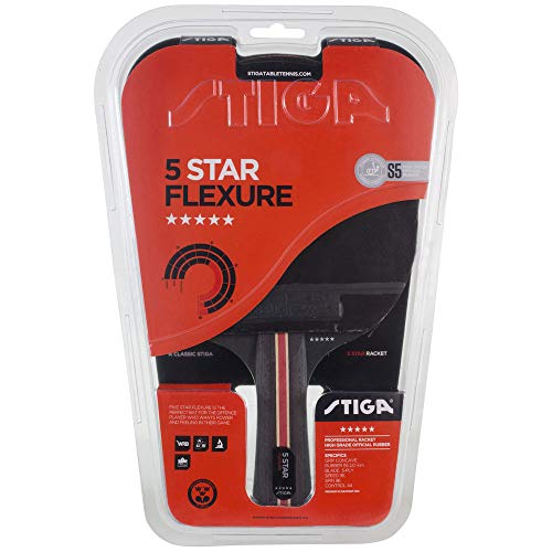 Stiga 5-Star Flexure - Raqueta de Ping Pong Unisex, para Adulto, Negro Rojo, Talla única
