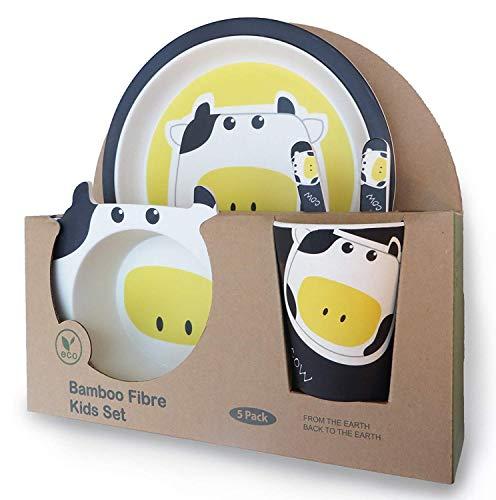 AMTBABY Vajilla infantil de bambu. Libre de BPA ecológico y biodegradable. Apto para lavavajillas (Vaca)