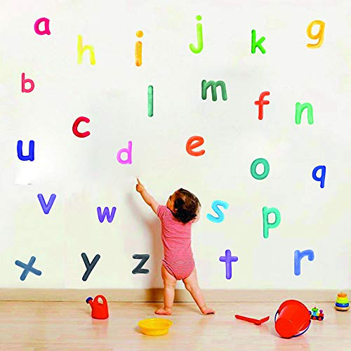 Adorable Alphabet Wall Decals, Educational ABC Wall Sticker for Kids Bedroom Decoration, Lovely Letters Nursery Classroom Wall Art Home Decor.