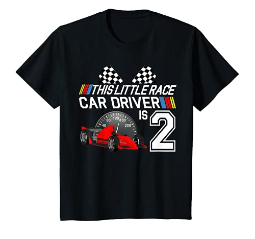 Kids 2 Year Old Race Car Birthday Shirt 2nd Racing Party Gift Tee