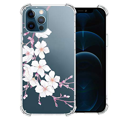 iPhone-12-Pro-Case with Glass Screen Protector, Cute Design Transparent Flower-for-Girls-Women-Best-Protective Slim Fit Clear TPU Soft Silicone Cover Phone Case for iPhone 12 Pro (15)