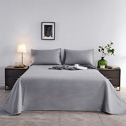 Colcha de Color de Pigmento Puro 1.5M1.8M2M, sábanas Gruesas de 100% algodón, Ropa de Cama para el hogar Gris Plateado 1.2 Cama (180 * 230 cm)