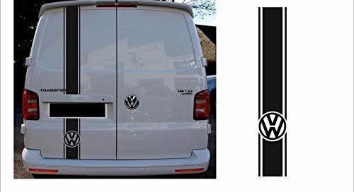 SUPERSTICKI Transporter T4 T5 T6 Bus Van Bulli Heck Zierstreifen Logo Aufkleber Autoaufkleber Tuningaufkleber Hochleistungsfolie für alle glatten Flächen UV und Waschanlagenfest Tuning Pro