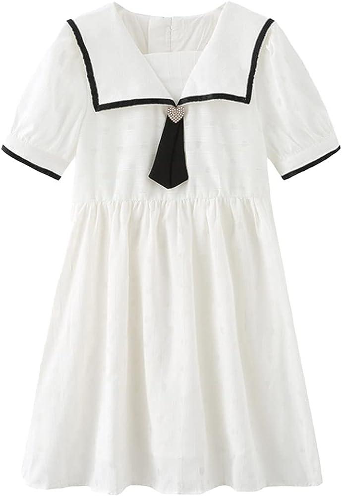 AINIFU Girls School Uniform Dresses White Navy Collar Princess Dress