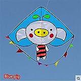 Cometa fuerte y resistente, cometas para niños fáciles de volar con deportes al aire libre mono cerdo cometa esqueleto resistente