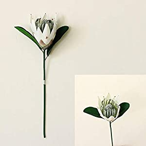 Bouddha Artificial King Protea Flowers Fake Plant, Lifelike Silk Artificial Flowers Real Touch, Tall Flower Arrangement Decor for Home(White)