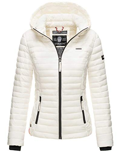 Marikoo Damen Jacke Steppjacke Übergangsjacke mit Kapuze gesteppt B600 [B600-Samt-Offwhite-Gr.XS]