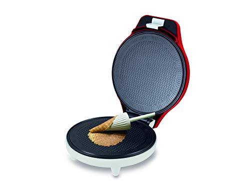 Beper - Hörnchen-Automat, Eis-Waffel-Eisen, 18 cm Antihaft-Platte, Leistung 700 W, Form für Eistüten/Hörnchen als Zubehör enthalten - Rot / Weiß