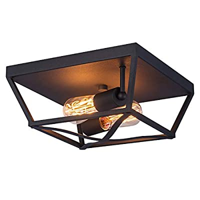 Industrial Close to Ceiling Light Fixtures, Farmhouse Ceiling lamp2-Lights,Metal Black Caged Geometric?Flush Mount, for Kitchen Island Dining Room Bedroom.11.75in