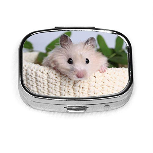 DODOD Pill Box Square Metal Pill Box is Used for Pocket Or Purse Design. Cute Hamster Mice Rat Gerbil Pet Funny Kids