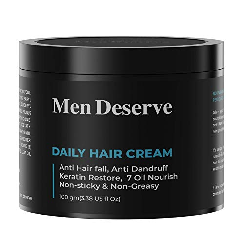 Men Deserve Daily Hair Cream (7 oil nourish) for Hair fall control, Dandruff Control,and Keratin Restore 100 GM