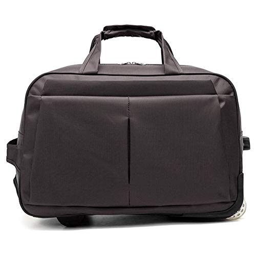 Adlereyire Laptop Trolley Bag Large-Capacity Stylish Lightweight Duffel Bag Convenient Rollers Waterproof Wear-Resistant Protection (Color : Brown, Size : 20-inches)