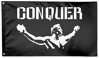 UDSNIS Conquer Pose Gym Lifting Garden Flag 3 X 5 Flag For House Decorative Banner Black
