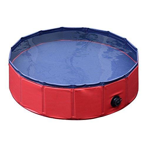 PawHut Pet Swimming Pool Dog Bathing Tub 12' x 47' All-Purpose Collapsible PVC Red / Dark Blue