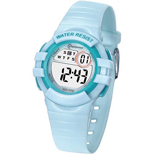 Reloj Digital Deportivo para Niños, Reloj de Pulsera Niña Multifunción con Pantalla LED Impermeable para Niños, Niñas Reloj Infantil Aprendizaje para Niños 4-15 Años (Verde)