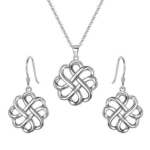 BriLove 925 Sterling Silver Endless Love Vintage Irish Celtic Knot Hook Earrings Pendant Necklace Jewelery Set for Womens