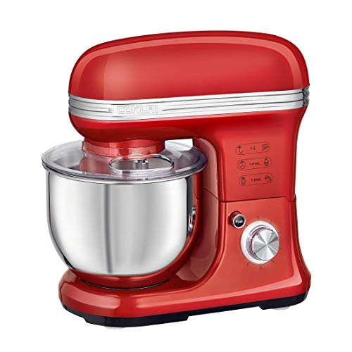 Stand Mixer, COKLAI 6 Speed 5.5-QT Dough Mixer Metal Lid with Stainless Steel Bowl, Tilt-head Electric Kitchen Mixer with Wire Whisk, Dough Hook, Flat Beater & Splash Guard, Red Food Mixer for Baking