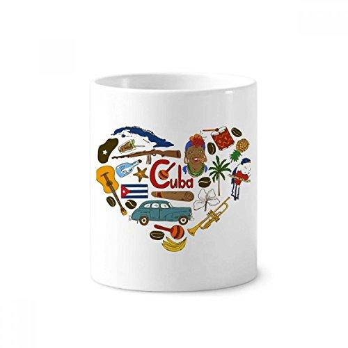 Kuba Love Herz Landscap National Flagge Keramik Zahnbürste Stifthalter Becher weiß Tasse 350ml Geschenk