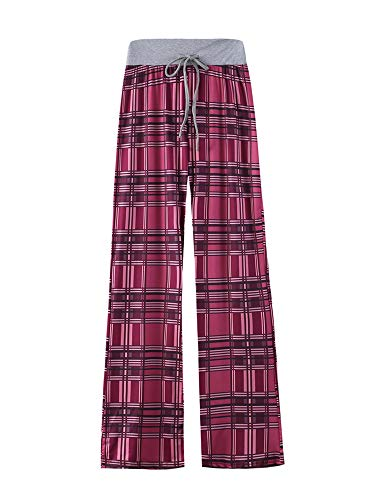 Kelinfei Women Drawstring Palazzo Wide Leg Lounge Pants Pajama Pants Sleepwear Yoga Pants (Pink, M)