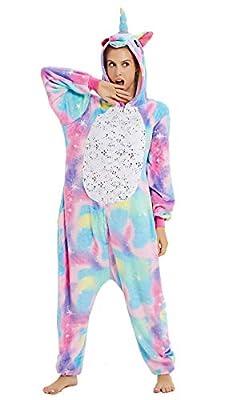 YULOONG Pijama de unicornio para adultos, disfraz de Halloween, fiesta de Navidad, disfraz de cosplay para mujeres y hombres - - X-Large