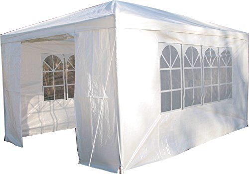 Esc Europe Ltd Airwave 3m x 4m Gazebo Party Tent Marquee Awning WHITE with Side Panels. 120g WATERPROOF Canopy and Powder Coated Steel Frame.